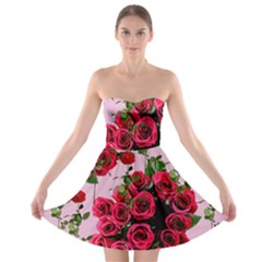 Roses Pink Strapless Bra Top Dress