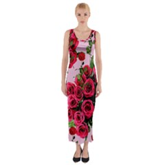 Roses Pink Fitted Maxi Dress