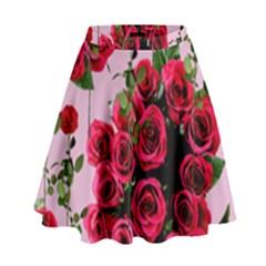 Roses Pink High Waist Skirt