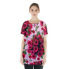 Roses Pink Skirt Hem Sports Top
