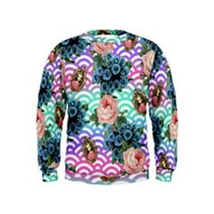 Floral Waves Kids  Sweatshirt