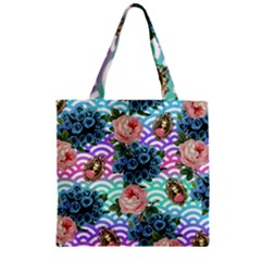 Floral Waves Zipper Grocery Tote Bag