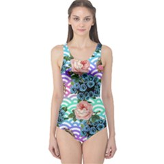 Floral Waves One Piece Swimsuit