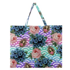 Floral Waves Zipper Large Tote Bag