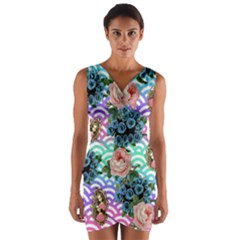 Floral Waves Wrap Front Bodycon Dress