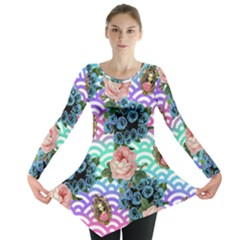 Floral Waves Long Sleeve Tunic