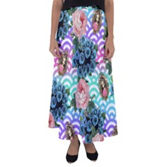 Floral Waves Flared Maxi Skirt