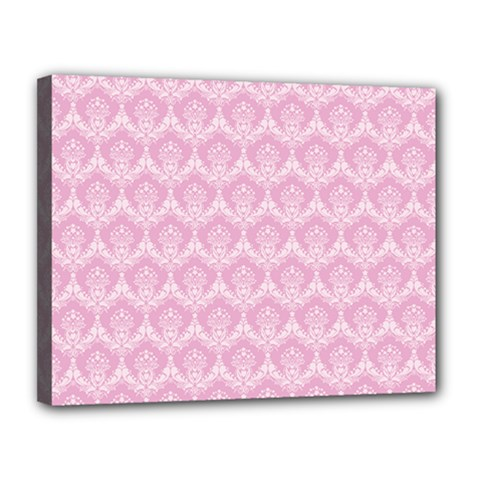 Damask Pink Canvas 14  X 11