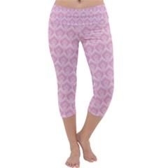 Damask Pink Capri Yoga Leggings