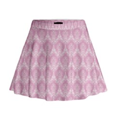 Damask Pink Mini Flare Skirt