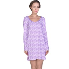 Damask Lilac Long Sleeve Nightdress