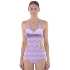 Damask Lilac Cut Out One Piece Swimsuit