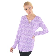 Damask Lilac Tie Up Tee