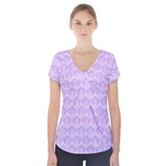 Damask Lilac Short Sleeve Front Detail Top
