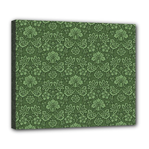 Damask Green Deluxe Canvas 24  X 20