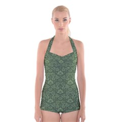 Damask Green Boyleg Halter Swimsuit