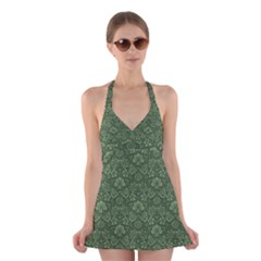 Damask Green Halter Dress Swimsuit