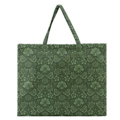 Damask Green Zipper Large Tote Bag