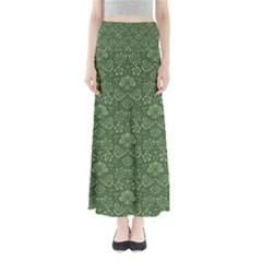 Damask Green Full Length Maxi Skirt
