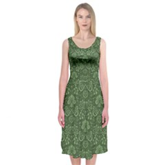 Damask Green Midi Sleeveless Dress