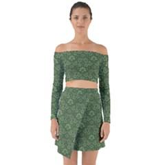 Damask Green Off Shoulder Top With Skirt Set
