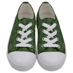 Damask Green Kids  Low Top Canvas Sneakers