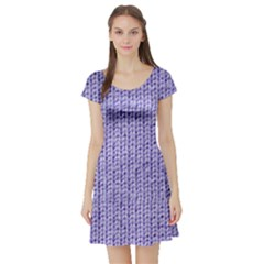 Knitted Wool Lilac Short Sleeve Skater Dress
