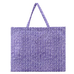 Knitted Wool Lilac Zipper Large Tote Bag