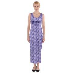 Knitted Wool Lilac Fitted Maxi Dress