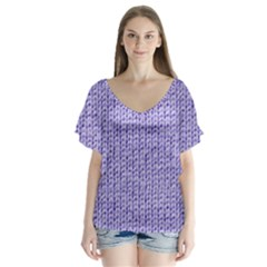 Knitted Wool Lilac V Neck Flutter Sleeve Top