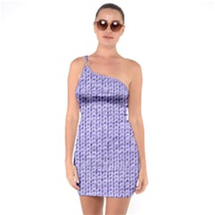 Knitted Wool Lilac One Soulder Bodycon Dress