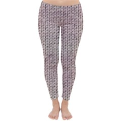 Knitted Wool Pink Light Classic Winter Leggings