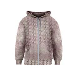 Knitted Wool Pink Light Kids  Zipper Hoodie