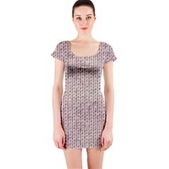 Knitted Wool Pink Light Short Sleeve Bodycon Dress