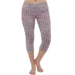 Knitted Wool Pink Light Capri Yoga Leggings