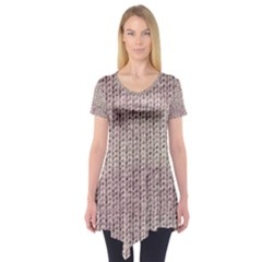 Knitted Wool Pink Light Short Sleeve Tunic