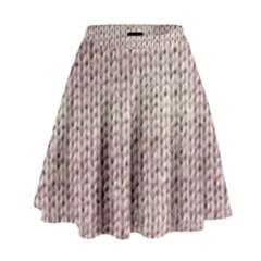 Knitted Wool Pink Light High Waist Skirt