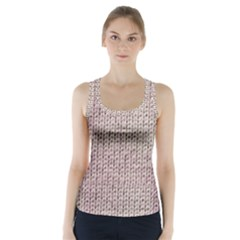 Knitted Wool Pink Light Racer Back Sports Top