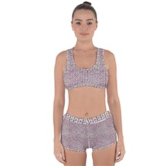 Knitted Wool Pink Light Racerback Boyleg Bikini Set