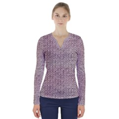 Knitted Wool Pink Light V Neck Long Sleeve Top