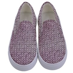 Knitted Wool Pink Light Kids  Canvas Slip Ons