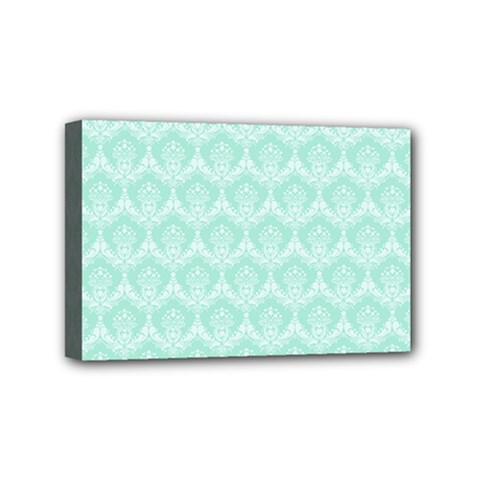 Damask Aqua Green Mini Canvas 6  X 4