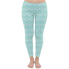 Damask Aqua Green Classic Winter Leggings