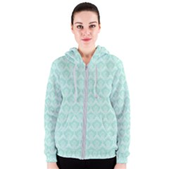 Damask Aqua Green Women s Zipper Hoodie