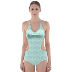 Damask Aqua Green Cut Out One Piece Swimsuit
