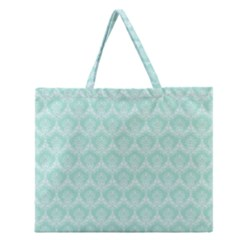 Damask Aqua Green Zipper Large Tote Bag