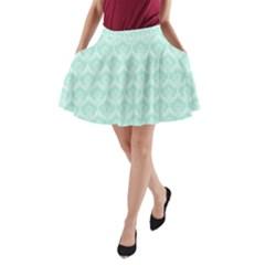 Damask Aqua Green A Line Pocket Skirt
