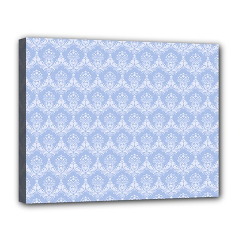 Damask Light Blue Canvas 14  X 11