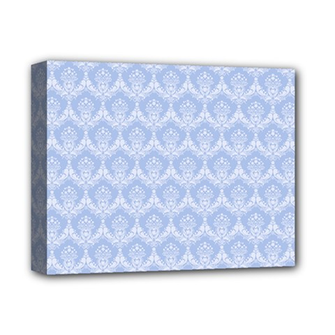 Damask Light Blue Deluxe Canvas 14  X 11
