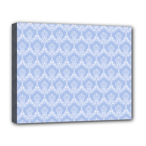 Damask Light Blue Deluxe Canvas 20  X 16